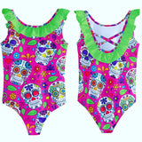 Pink Sugar Skull Girls Frill Swimsuit