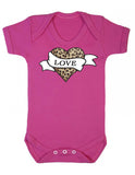 Leopard Print Tattoo Love Heart Baby Vest