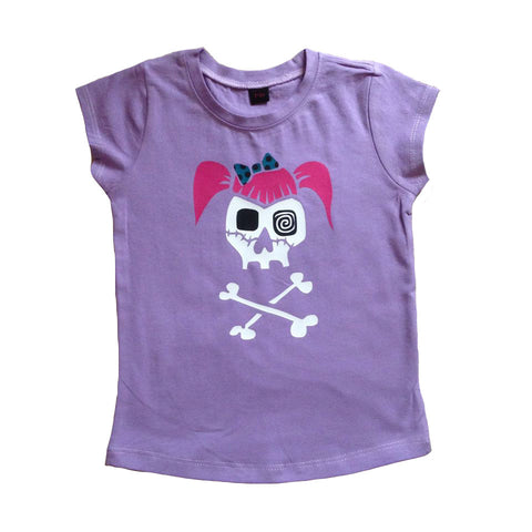 Lilac Rockabilly Girl Skull T-shirt