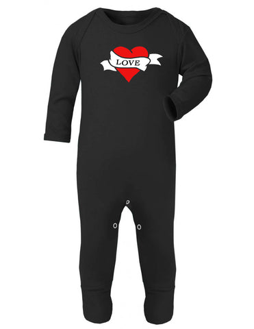 Red Tattoo Love Heart Sleepsuit