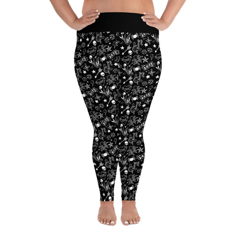 Black & White Tattoo Print All-Over Ladies Plus Size Leggings