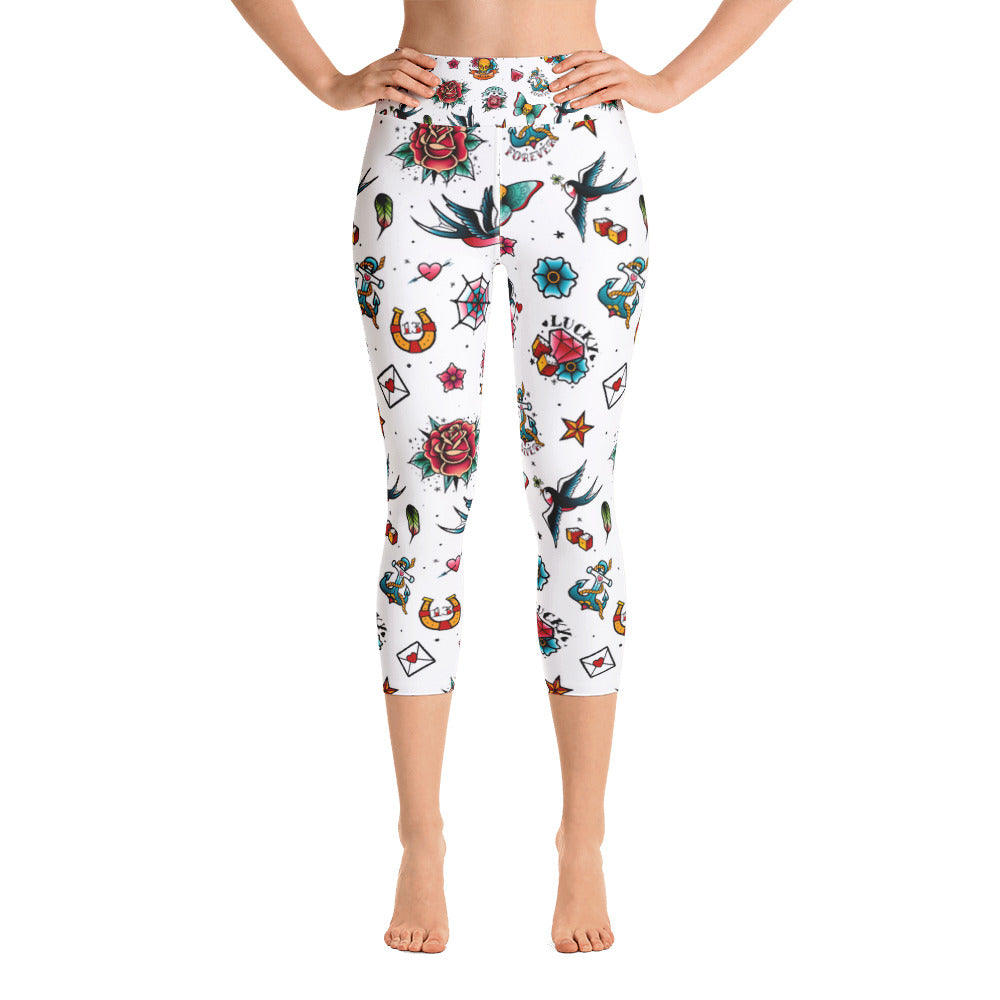 Retro Tattoo All-Over Print Yoga Capri Ladies Leggings