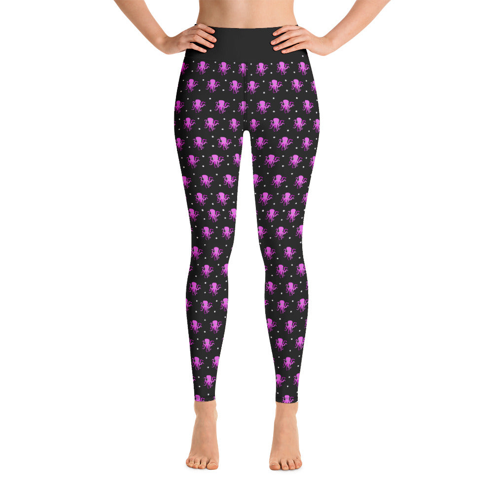 Yoga Pink & Black Octopus Ladies Leggings