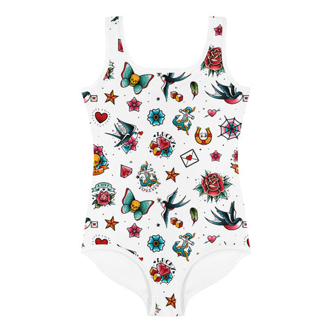 White Retro Tattoo All-Over Print Kids Swimsuit