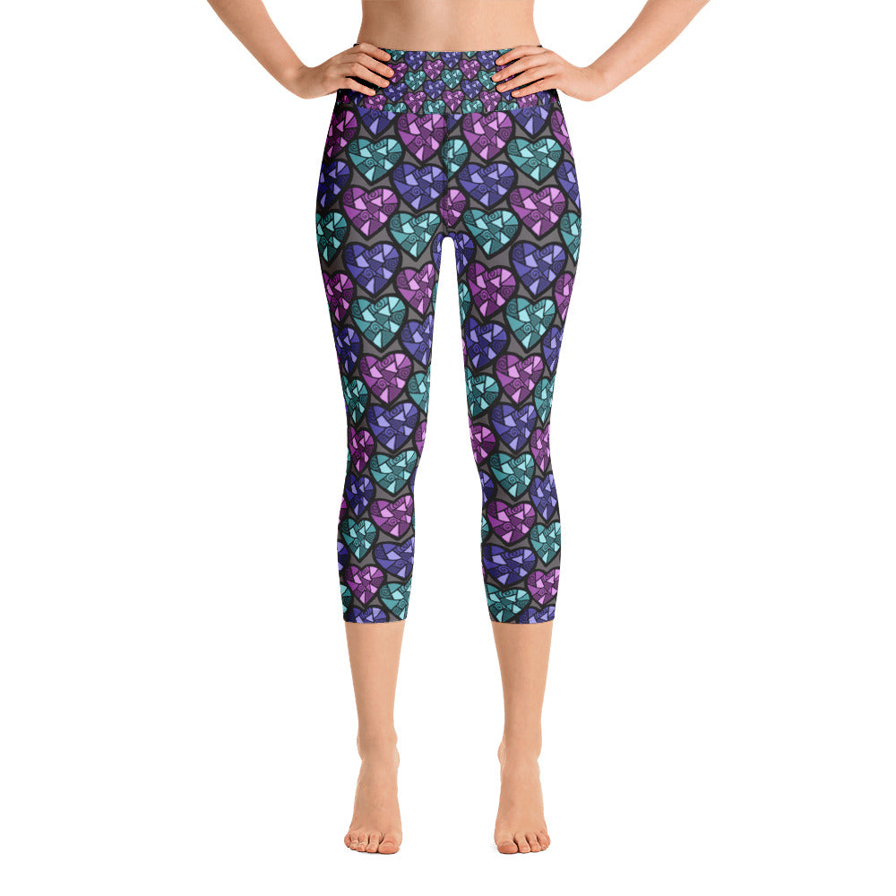 Geo Hearts Yoga Capri Ladies Leggings