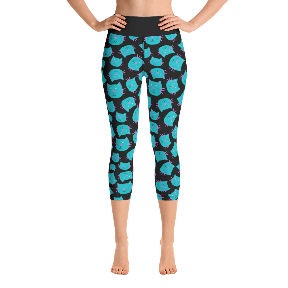 Turquoise Cat Face Yoga Capri Ladies Leggings
