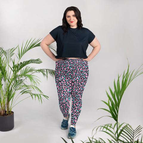 Pink & Blue Leopard Print All-Over Print Plus Size Ladies Yoga Leggings