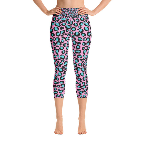Pink & Blue Leopard Print Ladies Yoga Capri Leggings