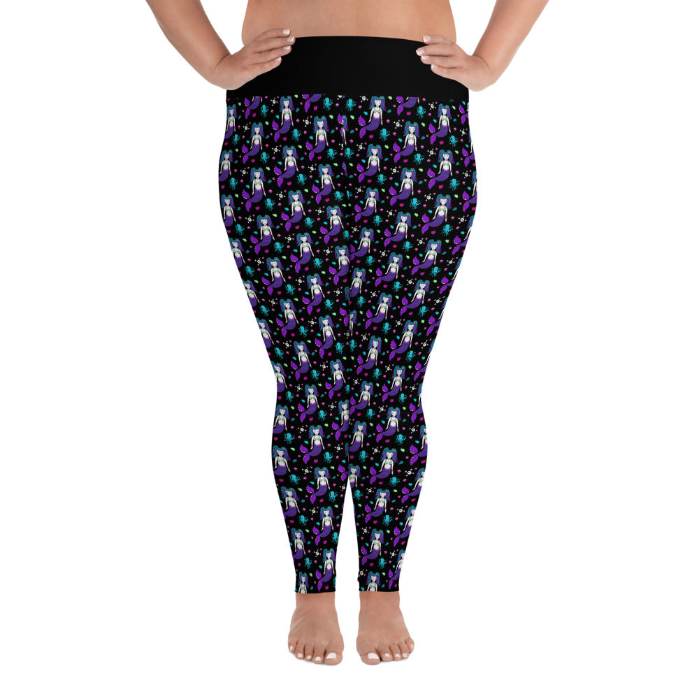 Gothic Mermaid All-Over Print Ladies Plus Size Leggings