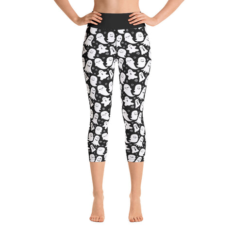 Cute Ghost Print Ladies Yoga Capri Leggings