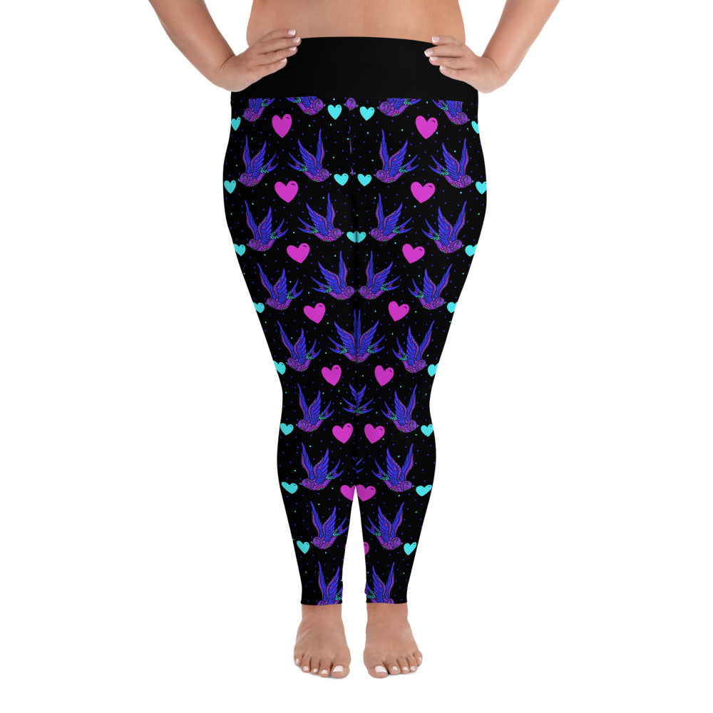 Day of the Dead Swallows All-Over Print Ladies Plus Size Leggings