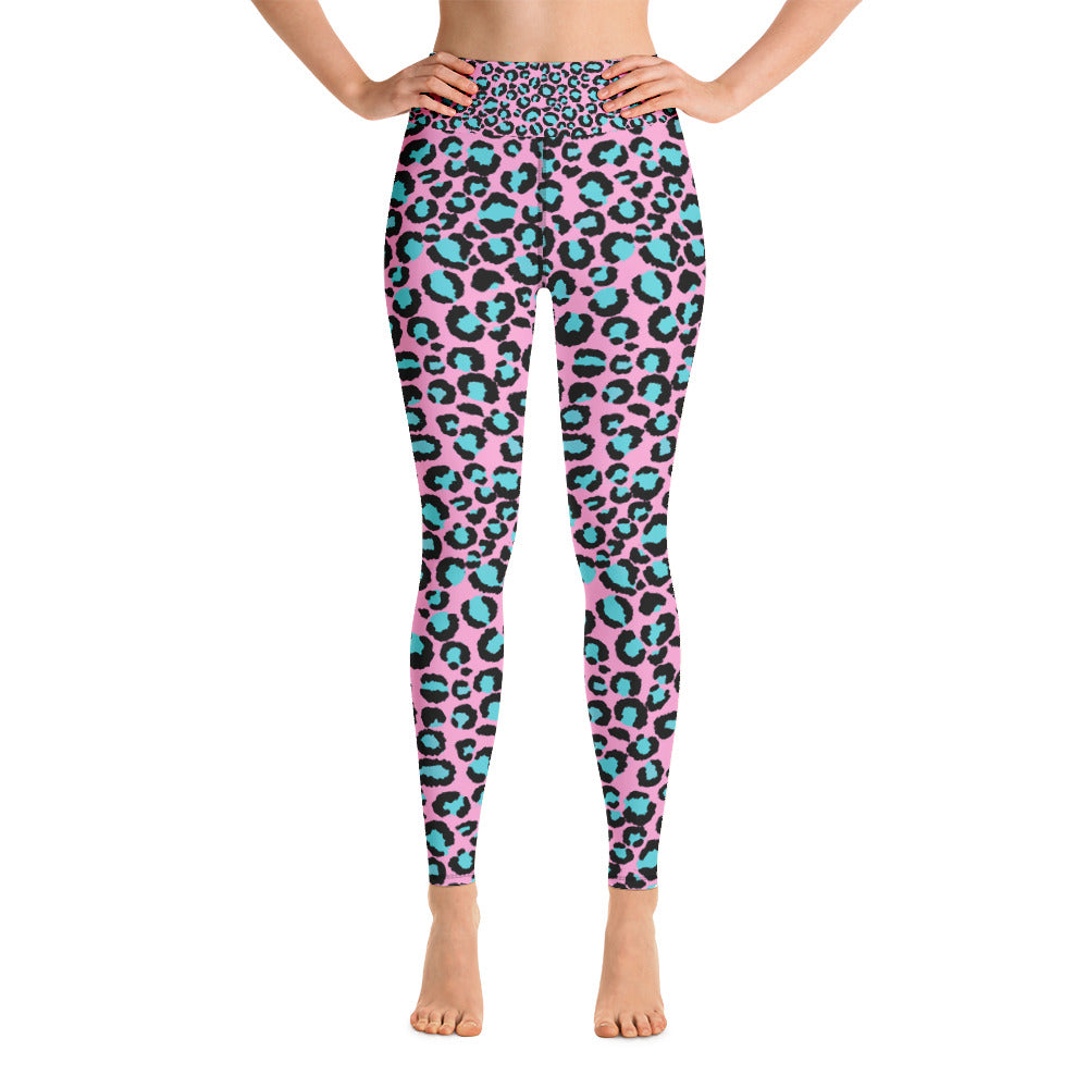 Pink & Turquoise Leopard Print Ladies Yoga Leggings
