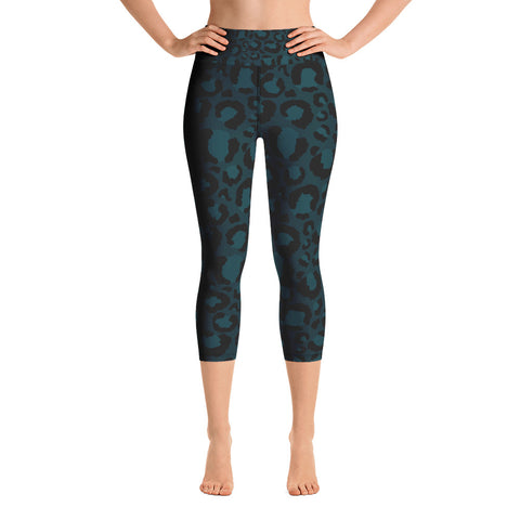 Teal Leopard Print Yoga Capri Leggings
