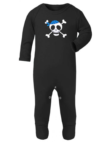 Children's unisex black sleep suit with large white skull print and blue bandana made by Alternatots