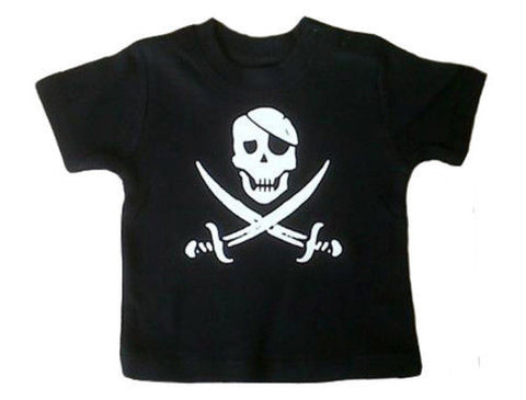 Crossed Cutlass Jack pirate black t-shirt by alternatots