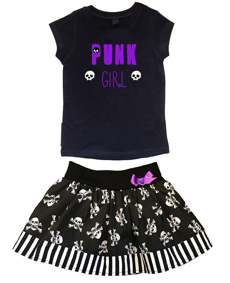 Purple Punk Girl T-shirt & Skull Skirt Outfit