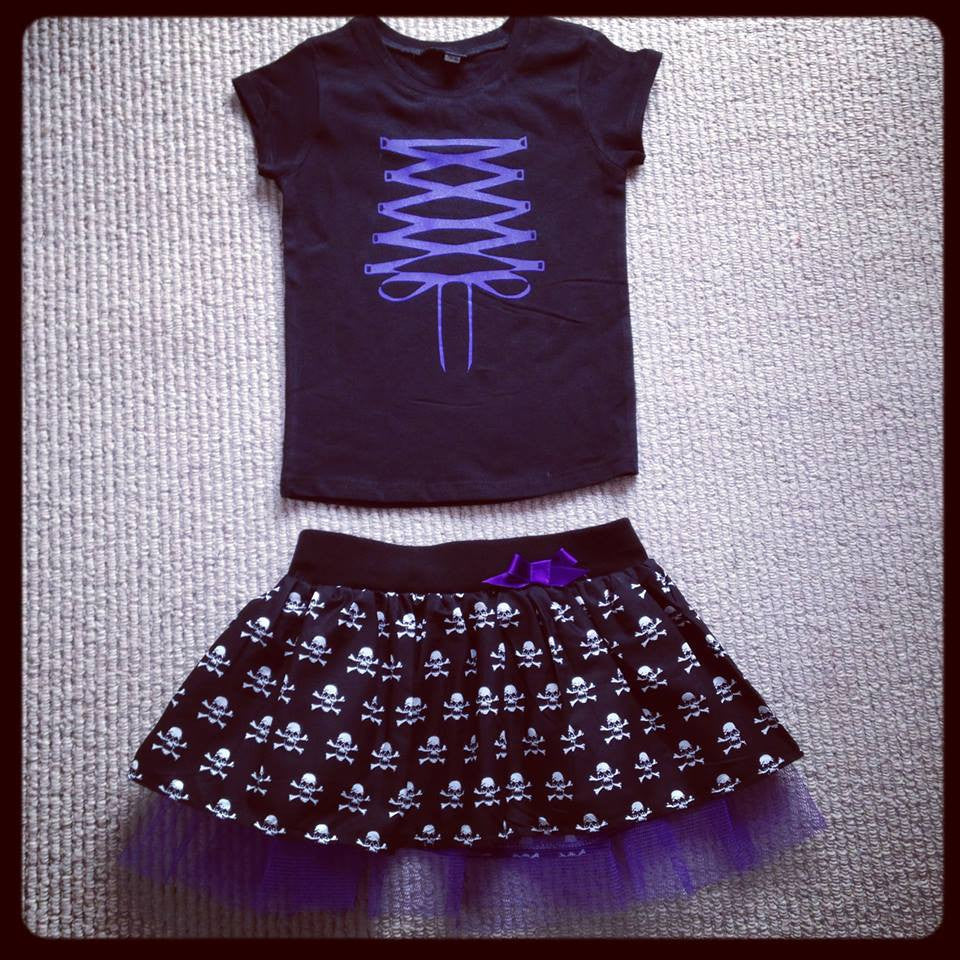 Purple Corset Laced T-shirt & Mini Skulls Skirt Outfit