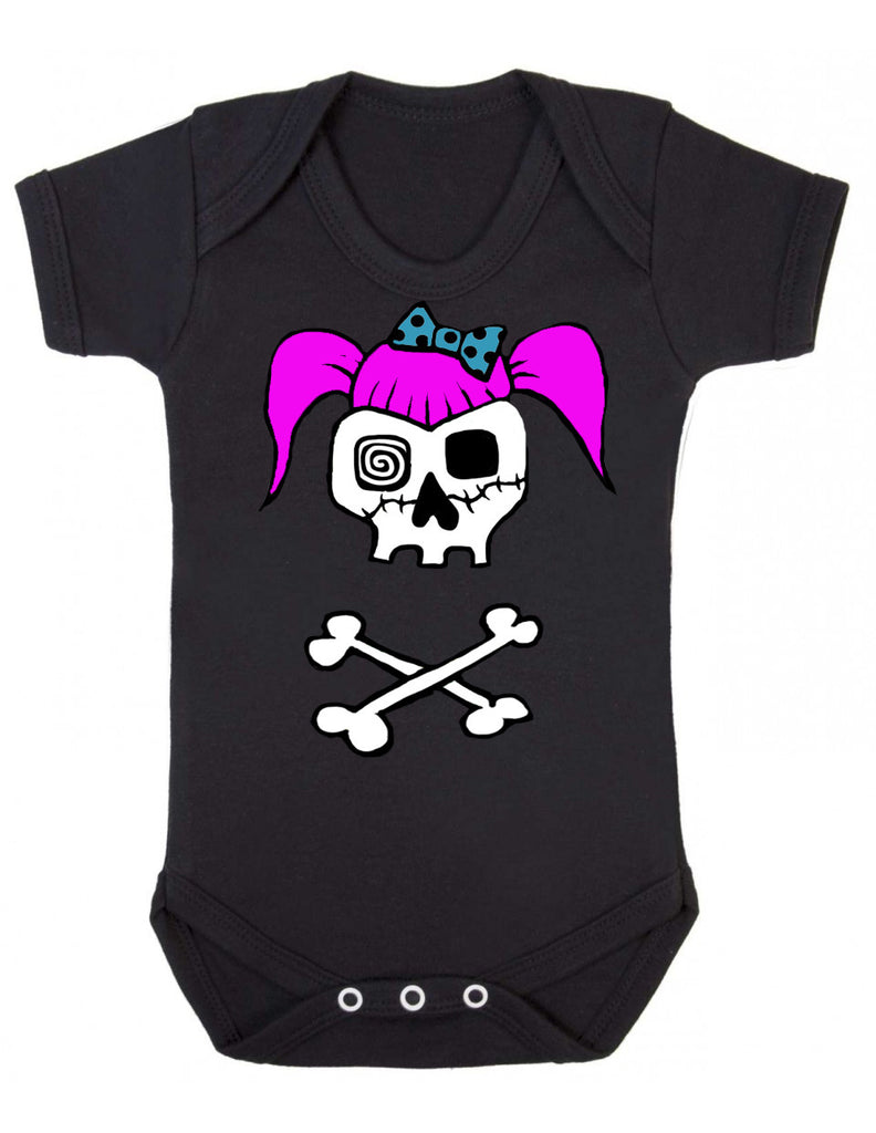 Rockabilly Girl Skull Baby Vest (Three Colour Choices)