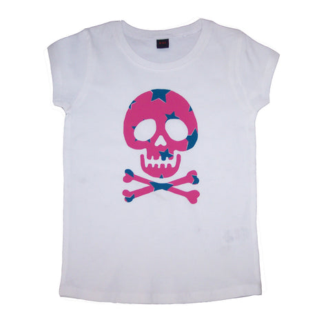 Star Skull on White T-shirt