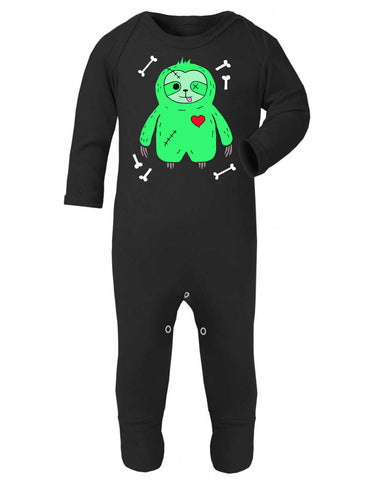 Black Zombie Sloth Baby Sleepsuit