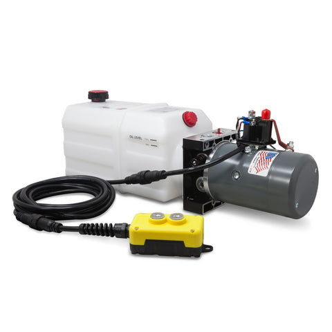 6 Quart 12V KTI Single Acting Hydraulic Pump