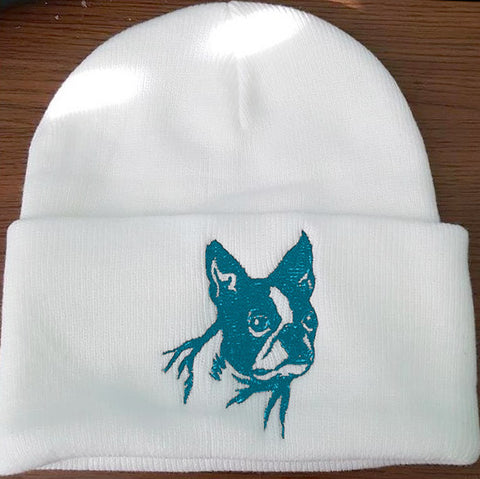 Boston Terrier Knit Ski Hat