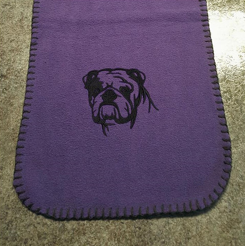 Bulldog (English) Embroidered Fleece Scarf