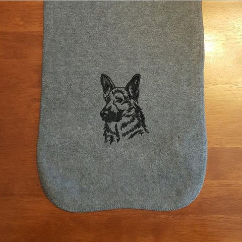 German Shepherd Embroidered Fleece Scarf