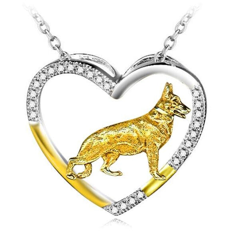 German Shepherd Sterling Silver Open Heart Necklace, jewelry box included. (Free Shipping In USA)