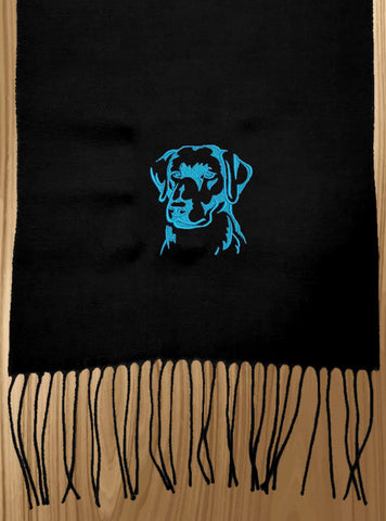 Labrador Retriever Embroidered Knit Scarf