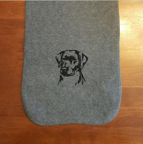 Labrador Retriever Embroidered Fleece Scarf