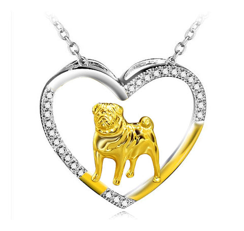 Pug Sterling Silver Open Heart Necklace, jewelry box included (free shipping in USA)