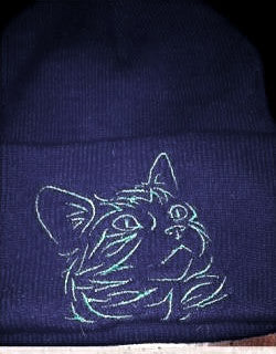Cat Design2 Knit Ski Hat