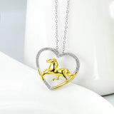 Horse Sterling Silver Open Heart Necklace.  Jewelry Box Included (Free Shipping In The USA)