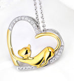 Cat Sterling Silver Open Heart Necklace, jewelry box included. (free shipping in USA)