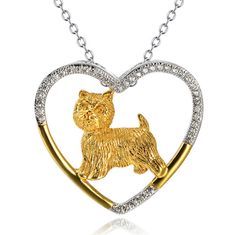Cairn Terrier Sterling Silver Open Heart Necklace, jewelry box included. (free shipping in USA)