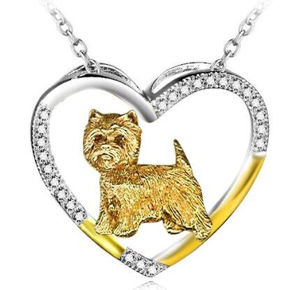 West Highland Terrier Sterling Silver Open Heart Necklace, jewelry box included. (free shipping in USA)