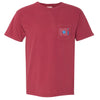 615 Area Code Pocket Tee - Red Comfort Colors