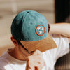 Teal, Red & White Tristar Hat with Corduroy Bill