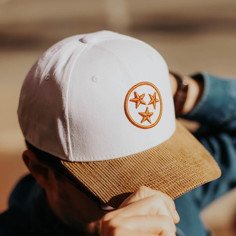 89d1019a473 Orange   White Tristar Hat with Corduroy Bill