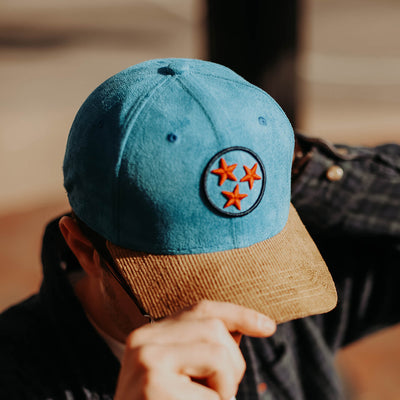 Blue, Red & Navy Tristar hat with Corduroy Bill