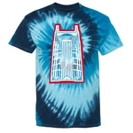 Retro Batman Building Tie-Dye Tee (Oilers theme)