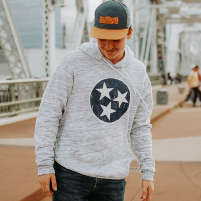 GRAY MARBLE TRISTAR HOODIE