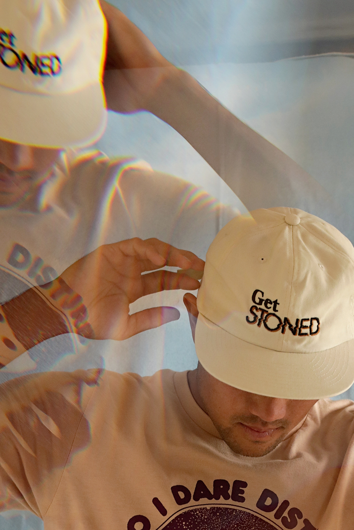 Get Stoned embroidered hat ~ cream