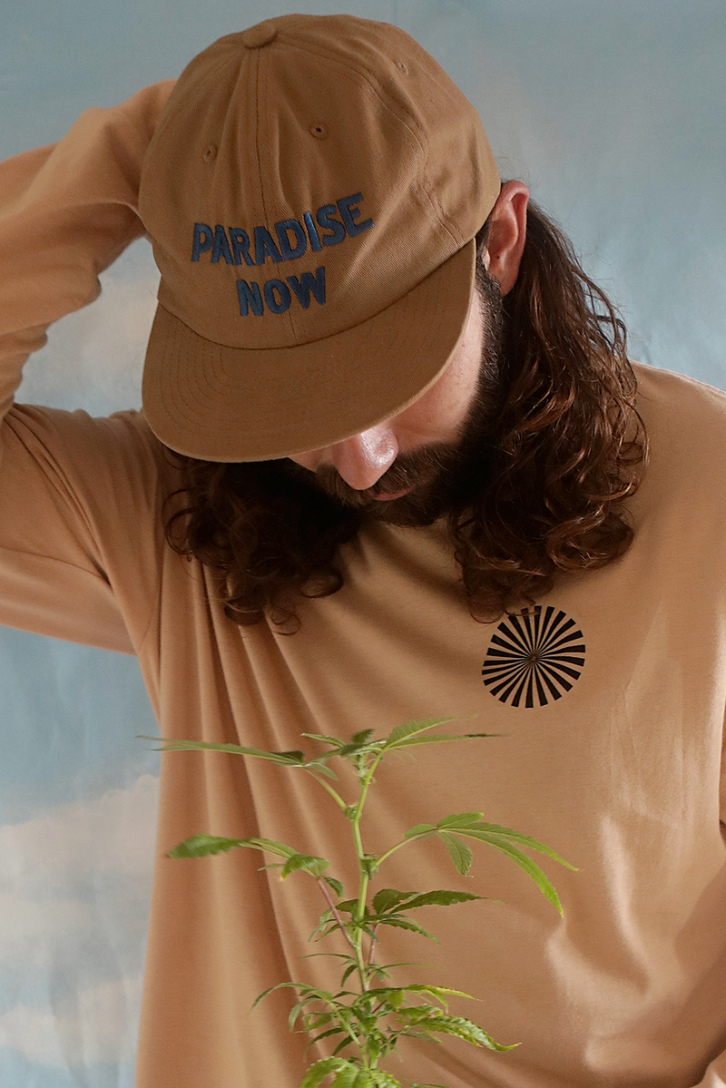 Paradise Now embroidered hat ~ latte