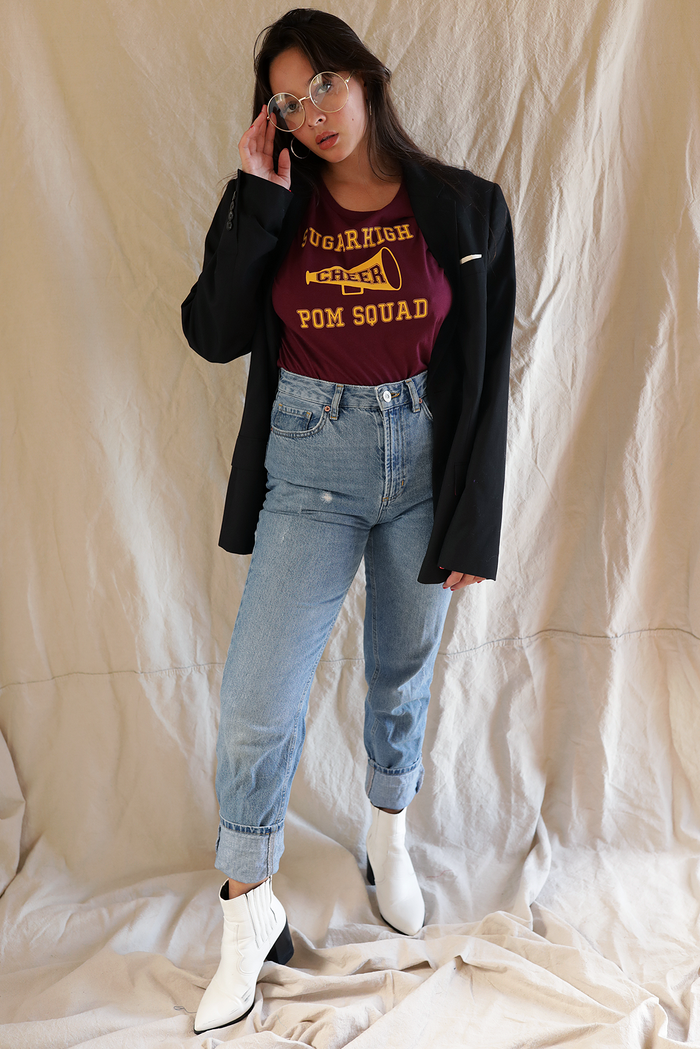 Cheer Me Up ~ maroon boyfriend tee