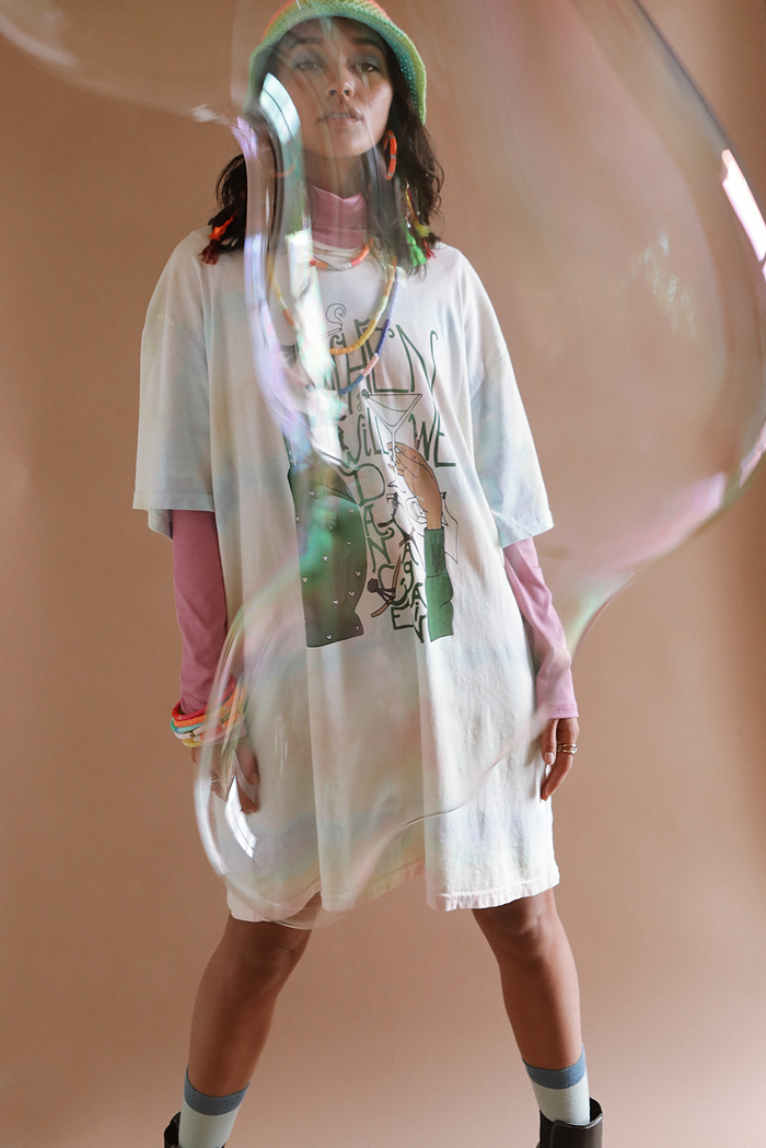 When Will We Dance Again ~ tie dye tee shirt dress (online only)