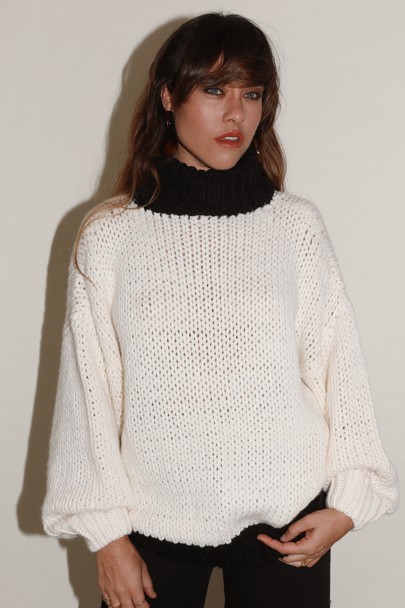 Chunky Sweater ~ Cream/Black