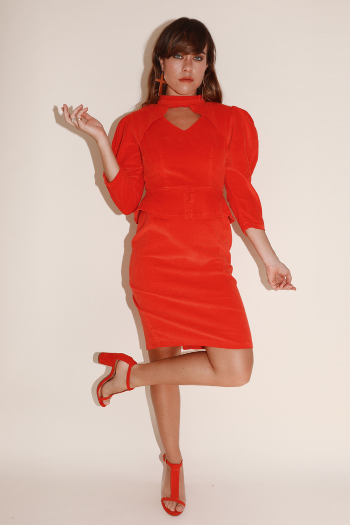 All Night Long Dress ~ Red Stretch Corduroy