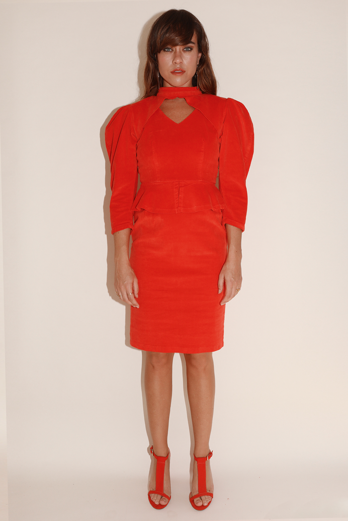 All Night Long Dress ~ Red Super Stretch Corduroy